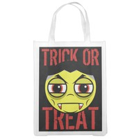 Vampire Face Trick Or Treat Grocery Bag