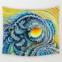Eye Wave Trippy Tapestry Wall Hanging, 59x51in