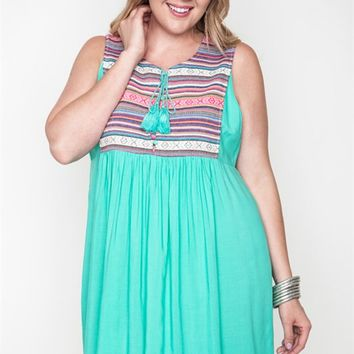 Umgee Plus Mint Tribal Print Sleeveless Dress with Tassel Trim