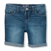 Toddler Girls Roll-Cuff Denim Skimmer Shorts | The Children's Place