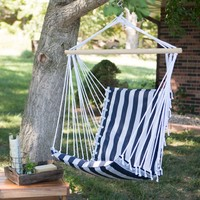 The Ultimate Padded Mesh Hanging Chair - Navy Stripes | www.hayneedle.com