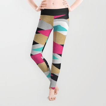 Gold, Pink and Navy Peaks Leggings by Elisabeth Fredriksson