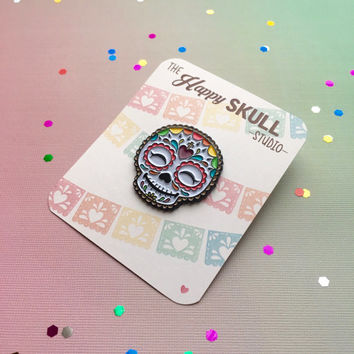 Happy Skull Enamel Pin