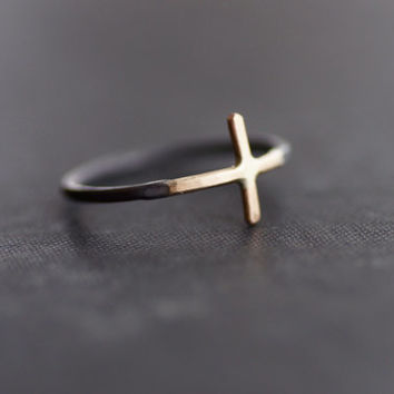 Gold Cross Sideways with Black Sterling Silver Ring