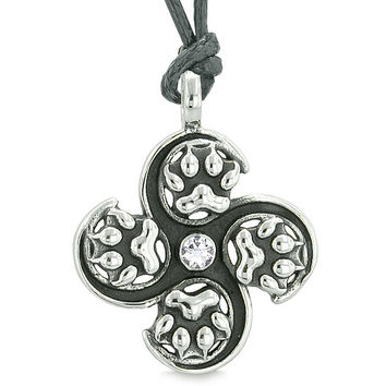 Supernatural Wild Wolf Paw All Forces of Nature Powers Amulet White Crystal Pendant Adjustable Necklace