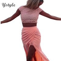 Womens Elegant Lace Crochet Front Splits 2 Piece Set Club Dress 2015 Ladies Sexy Short Sleeve Pink Bodycon Beach Dresses NTDR11