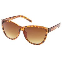Brown Combo Gold-Trimmed Cat Eye Sunglasses by Charlotte Russe
