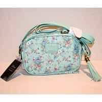 Licensed cool Disney Lilo & Stitch & Scrump Mint Floral Camera Style Bag Crossbody Tote Purse