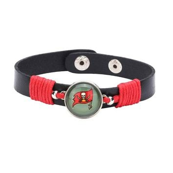 10pcs/lot! Adjustable Premium Leather Ginger Snaps Bracelet with a Tampa Bay Buccaneers 18mm Snap  for Men,Women Teens #1034