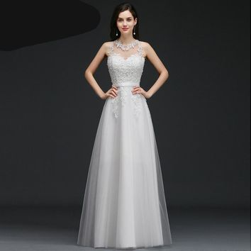 Simple Backless Appliques Lace A-Line Vintage Wedding Dress Romantic Wedding Gowns