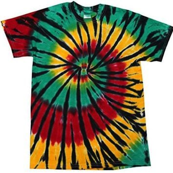 Day-First™ Yoga Clothing for You Mens Rasta Web Tie Dye Tee Shirt