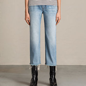 ALLSAINTS US: Womens Mazzy Straight Crop Jeans (Indigo Blue)