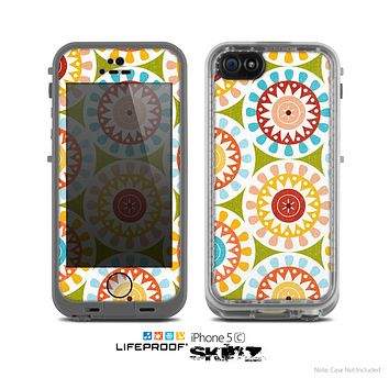 The Vintage Vector Color Circle Pattern Skin for the Apple iPhone 5c LifeProof Case