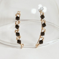 Gold Filled Up-The-Ear Wire Swarovski 4 x 4mm Jet Black Crystal Ear Sweep