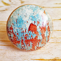 Distressed Wood Knob Drawer Pulls, Pool Blue Chipped Paint Style Cabinet Pull Handles, Rustic Knobs, Natural Wood, Made To Order