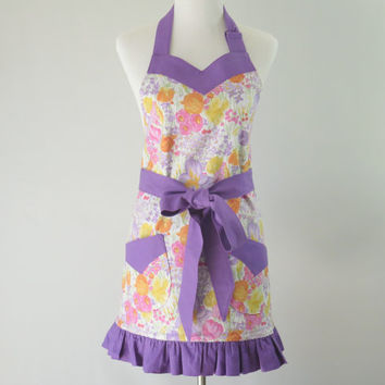 Womens Purple Floral Apron, Pink Ruffled, Lined, Sweetheart Neck, Easter, Spring, Bridal Shower, Mother's Day, Birthday Gift Mom, Wife