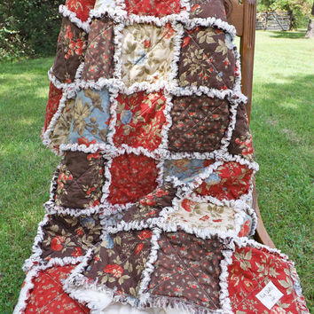 Floral Rag Quilt, Brown, Red, Blue, Beautiful Moda Fabrics, Extra Large Lap Quilt