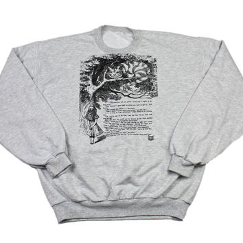 Vintage Alice in Wonderland Cheshire Cat Crewneck Sweatshirt Mens Size Large