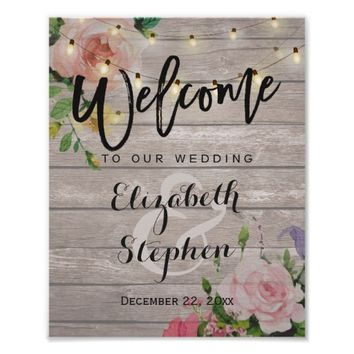 Wood Floral String Lights Welcome Wedding Sign Poster