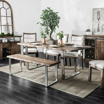 Furniture of america CM3451A-T-6PC 6 pc Mandy collection industrial style stainless steel legs with rustic oak finish wood top