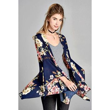 ODDI woven floral cardigan kimono with bell sleeves