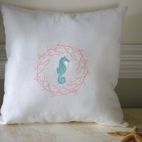 Beach Decor White Linen Sea Horse and Coral Embroidered 16x16 Pillow