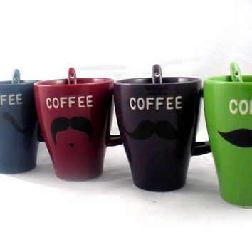 Mustache coffee mug set of 4 with spoons handpainted by kaoriglass