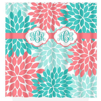 Coral Aqua SHOWER CURTAIN, Flower Burst Petals, MONOGRAM Personalized, Sister Bathroom Decor, Beach Towel, Plush Bath Mat, Baby Blanket