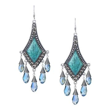 She Lian Vintage Silver Tone Rhinestone Jewelry Big Dangle Chandelier Earrings for Women