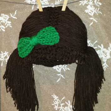 Cabbage Patch Knit Hat With Fringe And Pigtails Pattern : Cabbage Patch Wig Hats