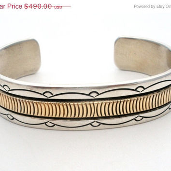 32% Off Bruce Morgan, Cuff Bracelet, Native American Jewelry, Sterling Silver Bracelets, 14K Gold, Navajo Cuff Bracelet, Morgan Sterling Cuf