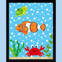 Fish Under The Sea Nautical Nursery Decor Baby Print Bathroom Art CUSTOMIZE YOUR COLORS 8x10 Prints Nursery Decor Art Baby Room Decor Kids