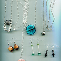 jewelry lot drop earrings chain necklaces wholesale bead glass stone wood 7pc