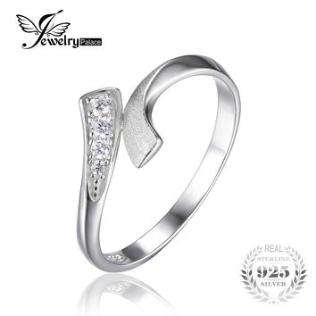 JewelryPalace Double Row Wrap Round Cubic Zirconia Wedding Promise Ring For Women Pure 925 Sterling Silver Jewelry Simple Ring
