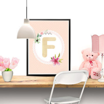 Printable Art, Alphabet Art, Customized Baby Art, Baby Name, Nursery Decor, Wall decor, Letter F, Digital Download, Printable, 8''x10''