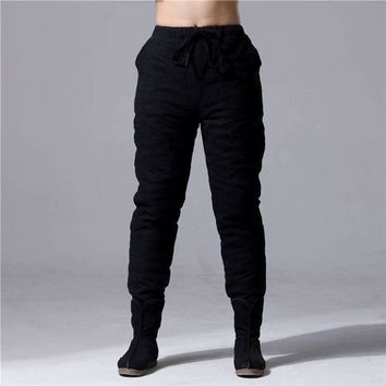 Sweatpants Top Skinny Linen Wind Menswear Flax Quilted Leisure Feet Pants Elastic Fall Winter Boots Mens