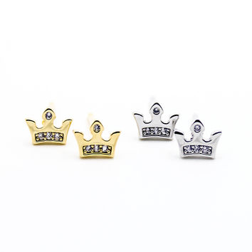Crown mini earrings