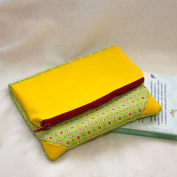 Cell Phone Purse in Yellow and Green, eBook Case, Vegan Leather Purse, Small Clutch, Unique Clutch, Foldover Clutch, Everyday Clutch