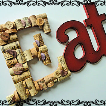 Wine Cork Sculpture Eat Sign Wine & Food Wine Cork Art Eat Wine Cork Letters Wall Art