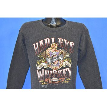 80s Distressed 3D Emblem Harley Davidson Whiskey t-shirt Medium