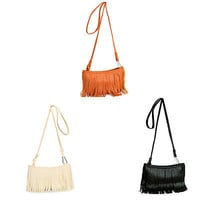 Fashion Women Adorable Tassel Shoulder Messenger Bag Lady Handbag Hand Style Satchel Tote Pouch