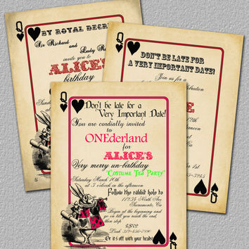 Printable Invitation Alice in Wonderland by TheRedStarDesigns
