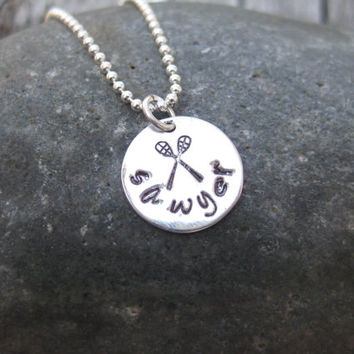 Lacrosse Necklace Personalized Sterling Silver Hand Stamped Team Coach Gift