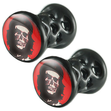 Che Skull Logo Double-Flared Plug [Gauge: 4G - 5mm] Alloy (Black) // Set of 2