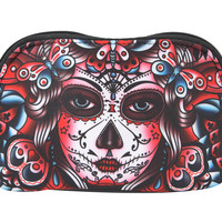 Liquorbrand Butterfly Day of the Dead Sugar Skull Tattoo Art Cosmetic Bag Pouch