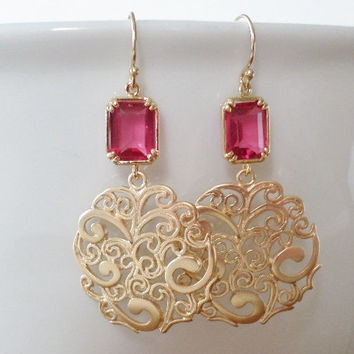 Garnet Earrings - Ruby and Gold Chandelier Earrings - Gold Earrings - Red Garnet Ruby - Birthstone Earrings - Graduation Present - Wedding