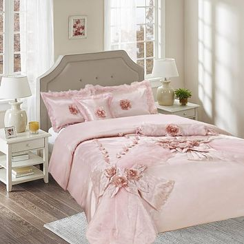 Tache 6 Piece Raspberry Macaroon Elegant Wedding Comforter Set (1632)