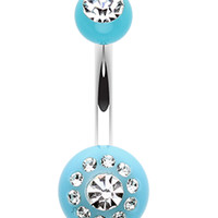 Dial Glass-Gem Sparkle Acrylic Belly Button Ring