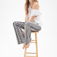 FOREVER 21 Floral Bell Bottom Pants Black/Cream