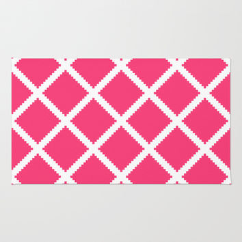 White Cotton Fence with Pink Area & Throw Rug by House of Jennifer
